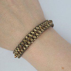 Stella & Dot Gold Tone Chain Beaded Bracelet